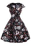 Axoe Damen A-Linie Kleid 50er Jahre mit Totenkopf Muster Schwarz Gr.40
