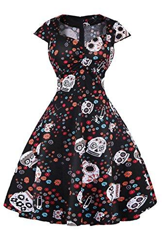 Axoe Damen A-Linie Kleid 50er Jahre mit Totenkopf Muster Schwarz Gr.38