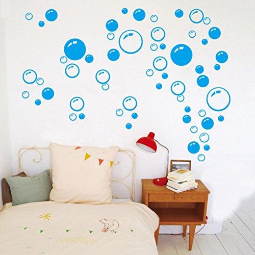 Saingace Wandaufkleber Wandtattoo Wandsticker,Bubbles Kreis entfernbare Wand Tapete Badezimmer-Fenster-Aufkleber-Abziehbild-Ausgangs DIY (Blau) (Halloween Dekor Bad)
