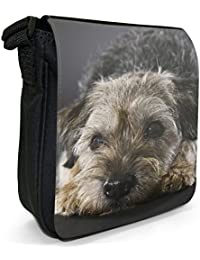 Border Terrier Dog Small Black Canvas Shoulder Bag / Handbag