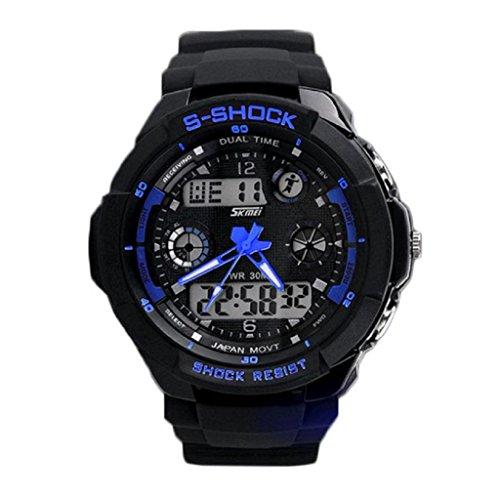 zolimx Multifunción S-Shock LED analógico Reloj Digital alarma resistente al agua (azul)
