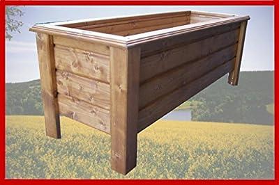 Pflanzkasten Classic 100x40x50cm aus Holz lasiert mit Holzschutzlasur Teak von holzkunstshop - Du und dein Garten