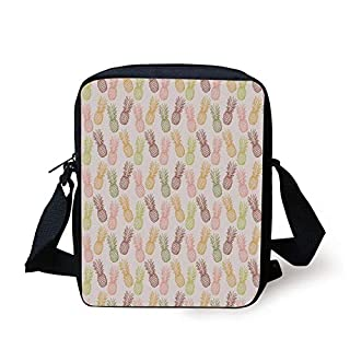Pineapple,Pineapples in Various Angles Exotic Natural Fruit Themed Vintage Sketch Pattern,Multicolor Print Kids Crossbody Messenger Bag Purse