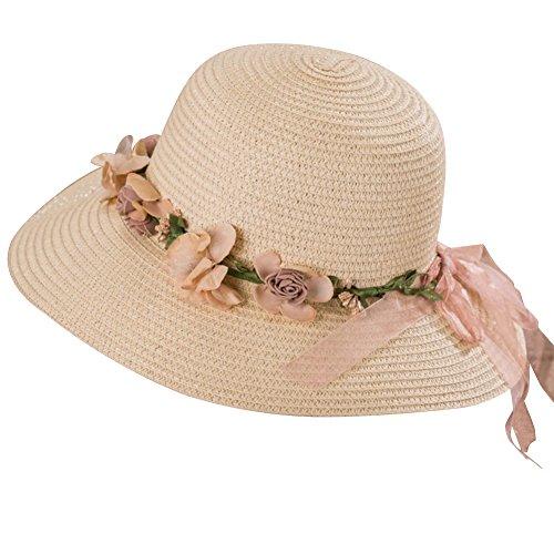 Chapeau à Large Bord Femme Chapeau de Plage en Paille Pliable Anti-soleil avec Fleur Beige