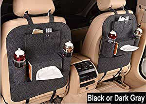ABTRIX WITH AB Car Seat Organiser Back Seat Car Organizer Tidy 2 Pack Multifunctional Thick Felt Pocket Travel Storag Easy to Install & Remove and Large Capacity, 2 Pieces