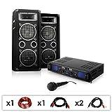 DJ-25-PA-Set lautstarke 1600 Watt Party-Musikanlage mit PA Lautsprecher, Verstärker inkl. Kabel-Set + Mikrofon (für bis zu 200 Personen, Stereo-Cinch- & Mikro-Eingang, 4x 20cm Subwoofer)