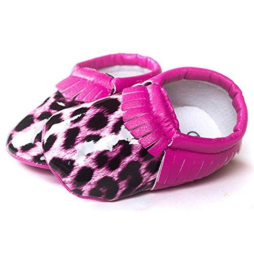 HAPPY CHERRY Chaussures Bébé Fille Garçon Princesse en Cuir Artificiel Souple Moccasins Frange Chaussures Premiers pas Or Doré Longueur 12CM Taille 20 pour 6-12mois Meilleur Cadeau Léopard Magenta