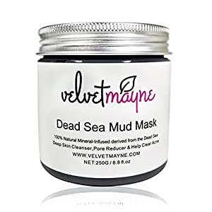 Dead Sea Mud Mask For Facial Treatment by Velvet Mayne – Premium Wash Off Face Mask – 100% Natural and Organic Deep Skin Cleanser, For Oily Skin ,Acne, Reduces Pores and Wrinkles - 250G / 8 OZ – Natural and Organic Face Masks – Spa Quality Minerals– Dead Sea Products, Cruelty Free / Vegan