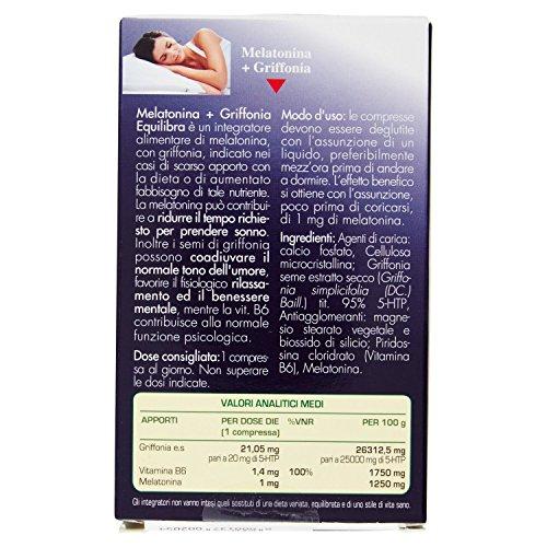 514e9 STx7L - Equilibra Integratore Alimentare di Melatonina con Griffonia - 60 Compresse