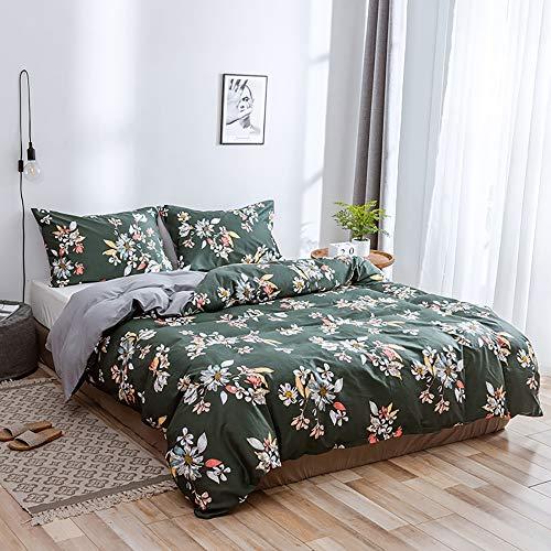 Modow Pastoralen Stil Blumen Gedruckt Heimtextilien 100% Reiner Ägyptischer Baumwolle Bettbezug Set 3 Stück Mit Kissenbezügen,USQueen -
