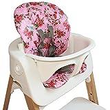 Cuscino per seggiolone Stokke Steps–Rosa con fiori e farfalle–Coated