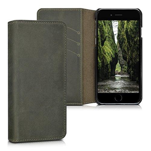 kalibri-Echtleder-Tasche-Hlle-fr-Apple-iPhone-6-6S-Case-mit-Fchern-und-Stnder-in-Dunkelgrau