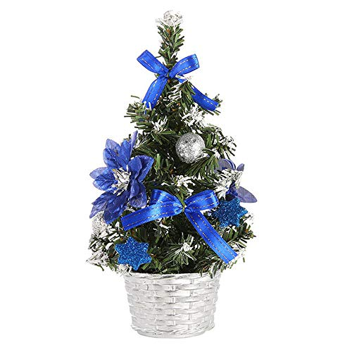 Tonsee Lustige Weihnachtsdekoration, künstliche Tisch-Mini-Weihnachtsbaum-Dekoration, Festival-Miniaturbaum, 20 cm, blau, M