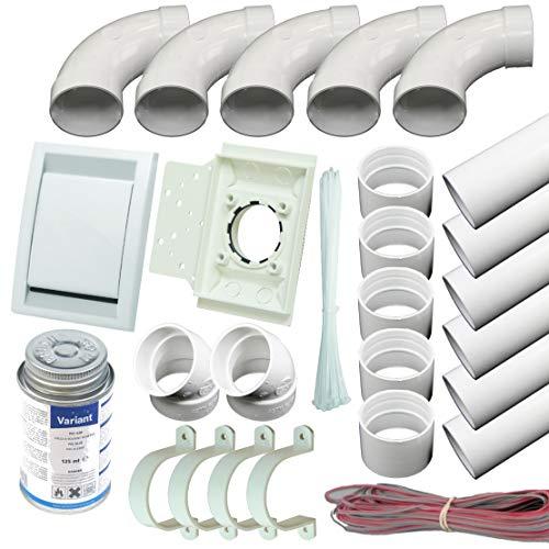 Zentralstaubsauger Einbau-Set für 1 DECO Saugdose weiss, mit Rohren, Formteilen, Kleber und Steuerleitung