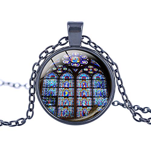 (UINGKID Kette Damen Halskette Schmuck Anhänger Ausverkauf Rose Window Glasmalerei de Paris Kathedrale Anhänger Halskette Mode)
