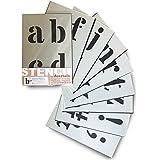 Sténcil Plantillas de Letras Alfabeto/simbolos - 10 cm de alto - 9 hojas de