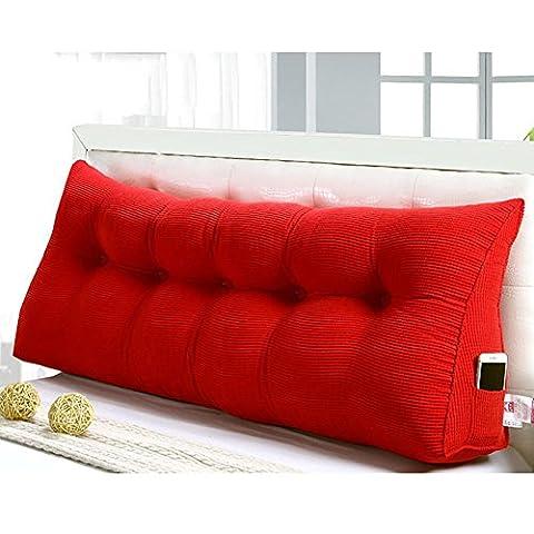 FLHSLY coussins de chevet soutien-gorge lombaire coussin lecture oreillers triangulaire grand coussin double dossier canapé grand dossier , red , 150cm