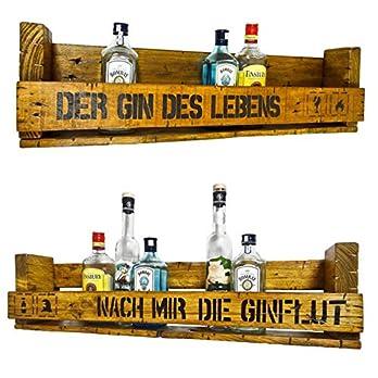 """SHaBBY ViNTaGe PaLeTTeNReGaL"""" GIN Sprüche"""" Doppelpack (HxLxT: 23x8ox9,5cm) im Frachtkisten Style aus Echtholz Gin Rum Whisky Wein Regal Wandbar. personalisierbar"""