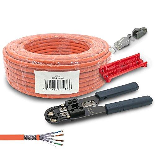 ARLI CAT 7 Verlegekabel 50m Netzwerkkabel CAT.7 + Crimpzange RJ45 Zange + Kabelmesser + 10x Netzwerkstecker Netzwerk Stecker Modular 8 polig Plug LAN Halogenfrei Installationskabel SFTP S/FTP CAT7 PIMF Kabel Netzwerk Verkabelung Datenkabel AWG23/1 geschirmt Gigabit Kupfer Ethernet Klasse F RJ-45 50 m Abisoliermesser (5e-modular-stecker)