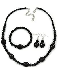 Black Ceramic, Glass Bead Necklace, Flex Bracelet & Drop Earrings Set In Silver Tone - 42cm L/ 4cm Ext