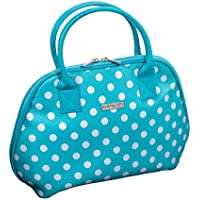 Audacity Turquoise Blue and White Polka Dot Handbag style Travel Toiletry Wash Bag with handles for women and girls