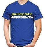 Braunschweig Skyline Männer und Herren T-Shirt | Fussball Ultras Geschenk (XL, Blau)