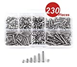 WINGONEER® 230Pcs M2 304 Edelstahl Allen Sechskant Antriebsstift Kopf Sockel Schraube Schrauben Muttern Sortiment Kit (M2)