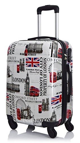 Trolley da Cabina 55 cm - Valigia Rigida in ABS Policarbonato - Approvato Per Voli come Easyjet 55 cm & C. - Fantasia London View (London View-G 55 cm)