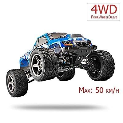 FM 12402  Monstertruck 1:12 50 km/h schnell! Blau mit Allrad 4WD riesig mit 2,4 GHz Ferngesteuertes Auto Monstertruck und riesen Reichweite! Inkl. Akku und Ladegerät Spritzwassergeschützt und fast unzerstörbar! von fm-electrics