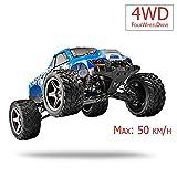 FM 12402| Monstertruck 1:12 50 km/h schnell! Blau mit Allrad 4WD riesig mit 2,4 GHz Ferngesteuertes Auto Monstertruck und riesen Reichweite! Inkl. Akku Spritzwassergeschützt Fast unzerstörbar!