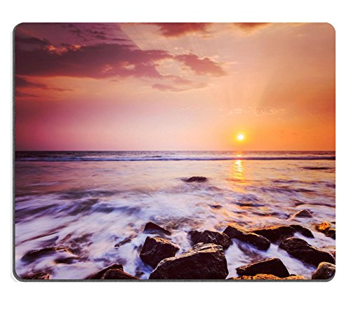 MSD Natural Rubber Gaming Mousepad IMAGE ID: 29847065 Vintage retro hipster style travel image of tropical beach vacation background waves and rocks on beach on sunset with beautiful cloudscape (Hipster Id)