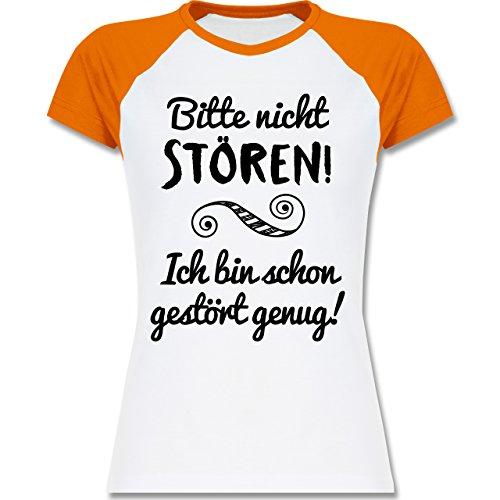 Sprüche - Bitte nicht stören! - zweifarbiges Baseballshirt / Raglan T-Shirt für Damen Weiß/Orange