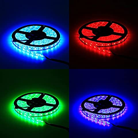 ALITOVE 16.4ft 5M 300 LEDs 5050 SMD RGB Color Changing LED Flexible Strip ribbon Light DC 12V Waterproof IP65