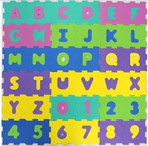 EVA Puzzlematten 20x20xm 36 Stück Buchstaben und Zahlen