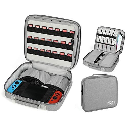 Vemingo Custodia per Switch Nintendo con 21 schede di Gioco,Borsa di memorizzazione Accessori per Organizer elettronici per Cavo,Caricatore e Chiave(Grigio