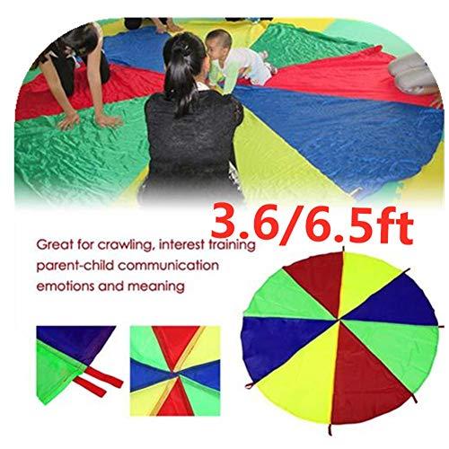 Nearthde Regenbogen Regenschirm Fallschirm 3.6/6.5ft passt Kinder Spielen Fallschirm für 8 12 Kinder Zelt Genossenschaftsspiele Geburtstagsgeschenk