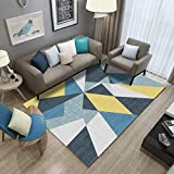 Mengjie Tapis Salon Canapé Table Basse Chambre Lavable Antidérapant Tapis Jaune Bleu Coloré Triangle Coloré, 140 * 200Cm