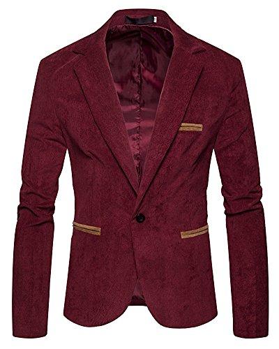 Slim Fit Herren Sakko Casual Elegant Blazer Jacke Hochzeit Party Burgunderrot L