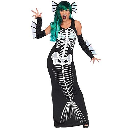 Romacci Damen Halloween Skeleton Kostüm Cosplay Meerjungfrau Maxi Kleid 3 Stück (Aus Tag Kostüme)