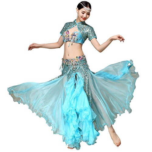 MoLiYanZi Best Dance Women's elegant Bauchtanz Kostüm Set für Frauen mit Pailletten Side Split Swing Rock Performance Kostüm , blue , (Of Ages Kostüme Rock)