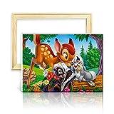 ufengke Kit Pintura de Diamantes 5D Bambi Ciervo Punto de Cruz Diamante Completo DIY para Amantes del Arte, con Marco de Madera, Diseño 25x35cm
