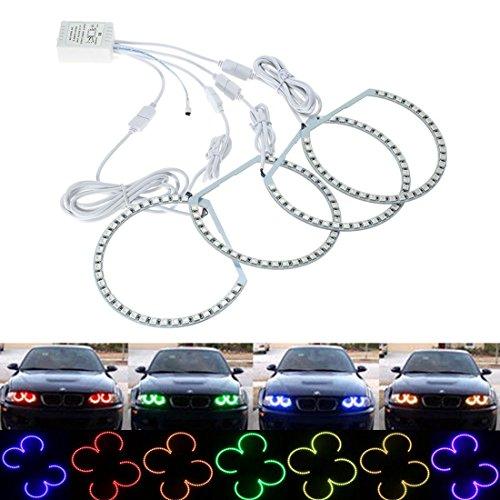 SODIAL Multi-Color 5050 RGB Flash SMD LED Anello Angelo Occhi Halo Kit per E36 E38 E39