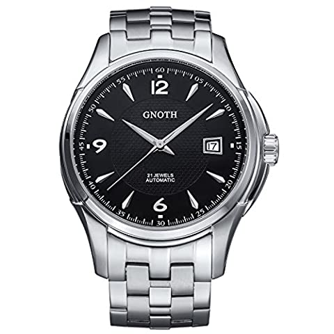 GNOTH Men's Watches Classic Sapphire Automatic Waterproof Wrist with Deluxe Metal Strap and Black Dial Watch For Men