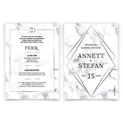 30 x Hochzeitseinladungen Silberhochzeit silberne Hochzeit Einladung individuell - Marmor