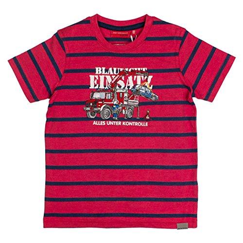 SALT AND PEPPER Jungen T-Shirt Fire Stripes, Rot (Red Melange 346), 104 (Herstellergröße: 104/110) (Rot Gestreift Shirt Jungen)