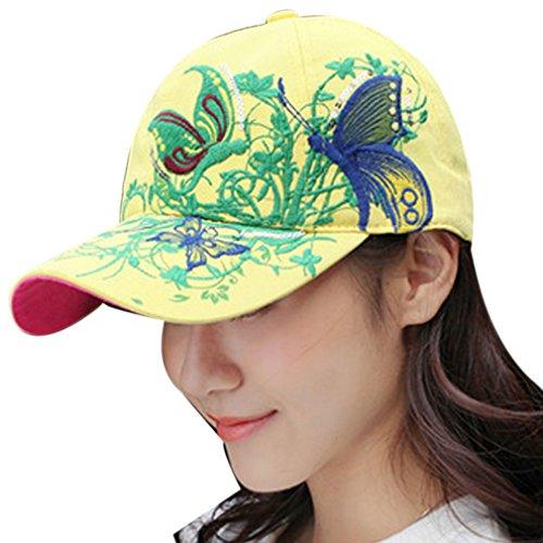 Belsen Mädchen Schmetterlings-Stickerei- Vintage Baseball Cap Snapback Trucker Hat (Erwachsene gelb) - Aus Trucker Hats