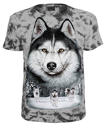 Tiermotiv T-Shirt Schlittenhunde Husky Grau Batik Größe XL