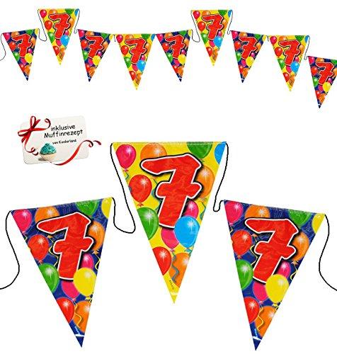 10,5 m Girlande / Wimpelkette -  Zahl - 7 / Sieben  - Dekoration - WASSERFEST - z.B. für Firmenfeier / Jubiläum - Kindergeburtstag Party / Geburtstag - Foli.. ()