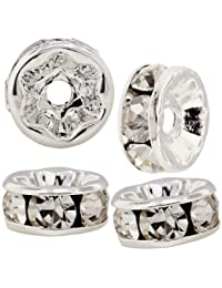 beadelle perles rondelles cristal 6mm–Cristal/plaqué argent (4pièces)