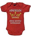 clothinx - Hinfallen Aufstehen Krone Richten Weitergehen - Babybody Rot, Größe 12/18 Monate
